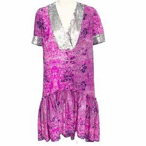 Gryphon NY 'Gypset Print' Sequin Trim Dress Small